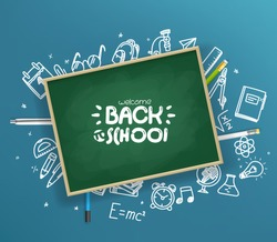 School chalkboard with different stuff. Welcome back to school vector card
