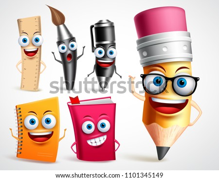 School characters vector illustration set. Education items 3D cartoon mascots like pencil and book for back to school elements in white background.