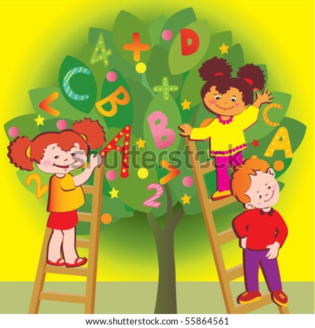 Stock Vector School Childhood Children With Letters And Numbers Vector Art Illustration on Cylinder V6 Tattoo