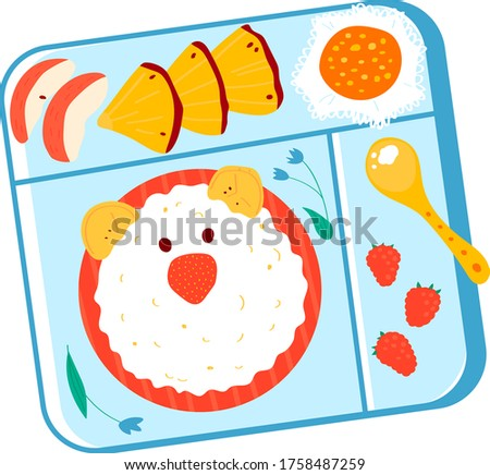 School children asian japanese style bento, healthy breakfast for kid box isolated on white, cartoon vector illustration. Foodstuff rice bear head in tray, fruit piece and strawberry meal.