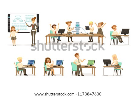 School children at the informatics and programming lesson set, teacher giving lesson in classroom, kids working on computers, learning robotics and programming vector Illustrations