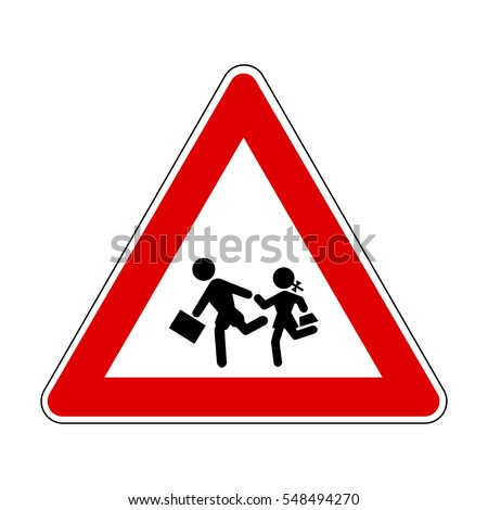 school children crossing Sign, Children.