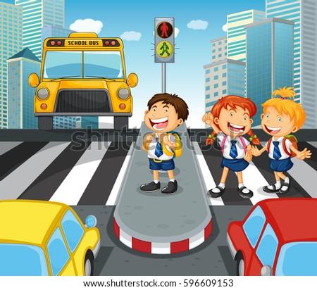 school children crossing street