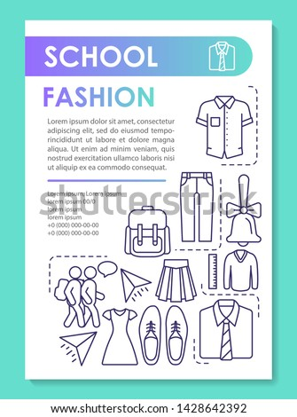 School children fashion brochure template layout. Buying uniform. Flyer, booklet, leaflet print design with linear illustrations. Vector page layouts for magazines, annual reports, advertising posters