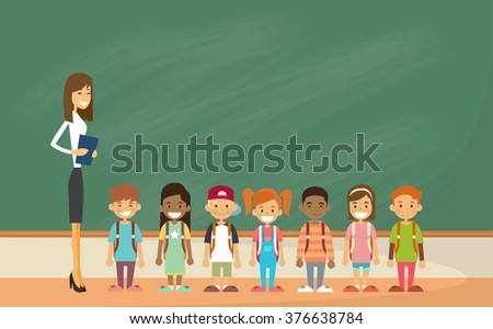 school children group with