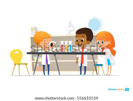 school children in lab clothing
