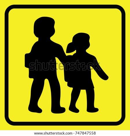 school children road sign