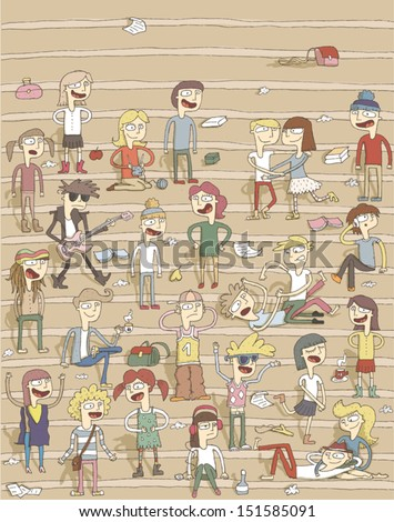 School choir singing on stairs hand drawn funny illustration with group of teenagers Illustration is in eps10 vector mode elements are isolated in a group