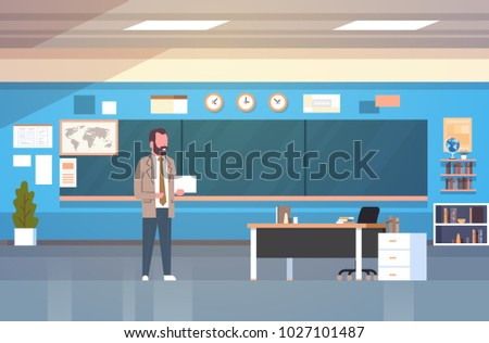School Classroom Interior With Male Teacher Standing Over Chalk Board In Class Room Flat Vector Illustration