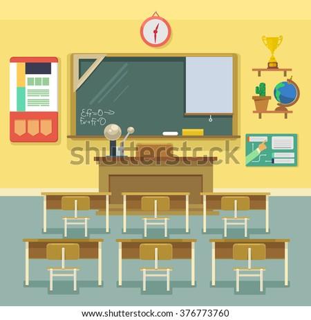 school classroom vector flat