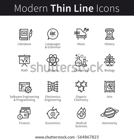 School, college and university science education concept. Arts, formal sciences, software engineering, medical & chemistry knowledge. Modern thin line art icons. Linear style illustrations on white.