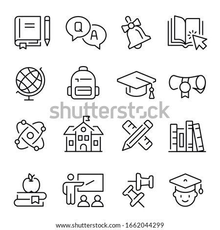 School, college or university education line icons set - books or textbooks, diploma, graduation cap, classroom, teacher and students or pupils, bell, globe, atom. Monochrome vector illustration.