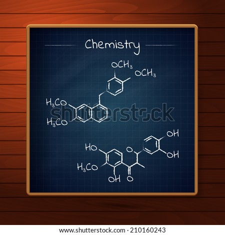 School dark blue chalkboard on the wooden background with chemistry formulas