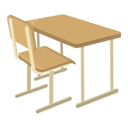 School Desk. School Supplies Icon and Logo. Isolated design element. Vector Cartoon illustration.