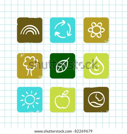 School doodle nature and education icons isolated on white grid Vector icons collections for school nature and ecology lesson.