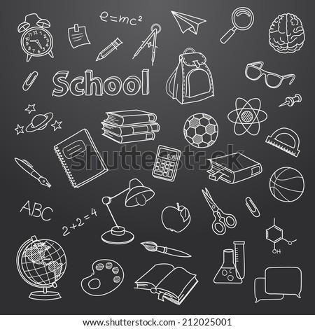 School doodle on a blackboard vector background file
