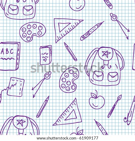 School doodle seamless pattern on the paper