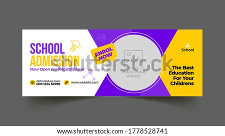 School education admission timeline cover and web banner template Foto d'archivio ©