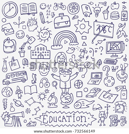 school education - doodle set , isolated hand drawn vector design elements