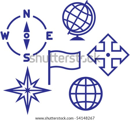 School education geography icons - vector illustrations
