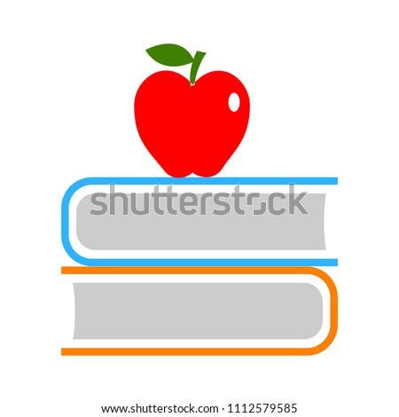 school education icon. back to school - books with apple icon