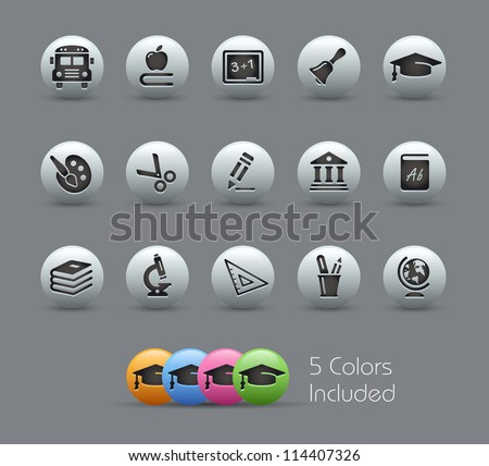 School & Education Icons // Pearly Series -------It includes 5 color versions for each icon in different layers ---------