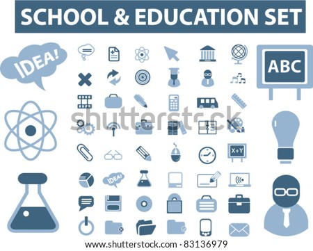 school & education icons, signs, vector illustrations set