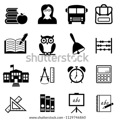 School, education, learning and back to school web icon set
