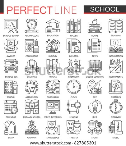 School education outline concept symbols. Perfect thin line icons. Modern stroke linear style illustrations set.