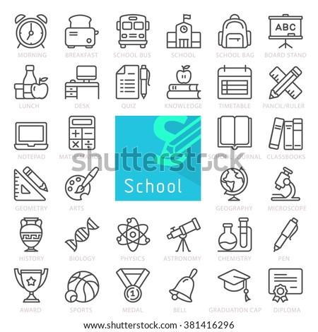 School education. Outline icon set.
