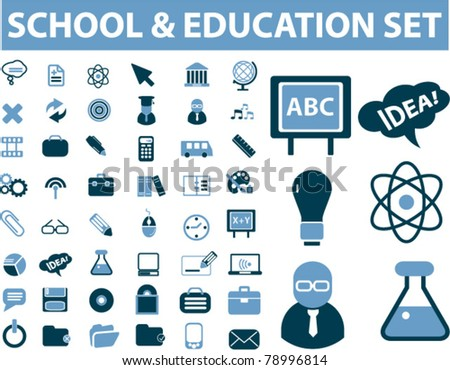 school & education set, vector