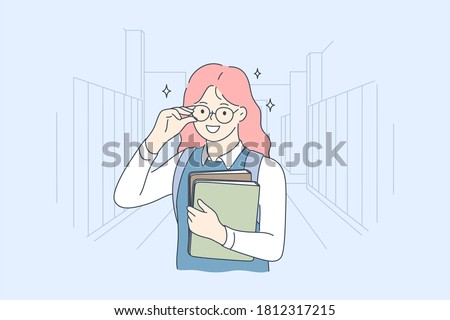 School, education, study, learning concept. Young happy smiling cheerful girl pupil cartoon character standing with books and looking at camera. Back to school and getting knowledge illustration.
