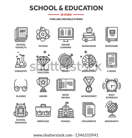 School education, university. Study, learning process. Oline lessons, tutorial. Student knowledge. History book.Thin line web icon set. Outline icons collection.Vector illustration.