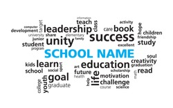 School Education word cloud vector template. Modern education concept. Use your school name instead of the sample text