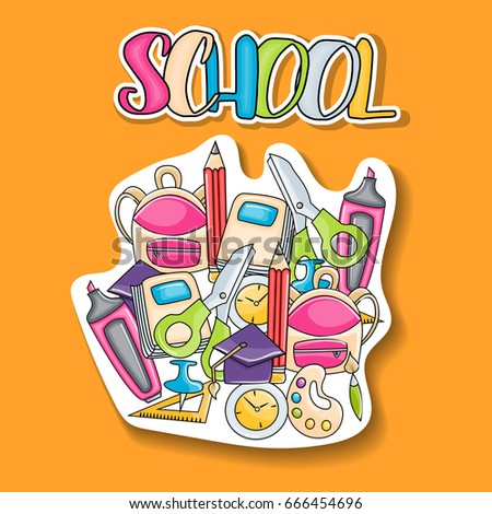 School elements clip art doodle sticker in cartoon style for greeting card. Hand draw vector illustration for banner or flyer. Typography text.