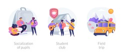 School environment abstract concept vector illustration set. Socialization of pupils, student club, field trip, after-school activity, college association, social interaction abstract metaphor.