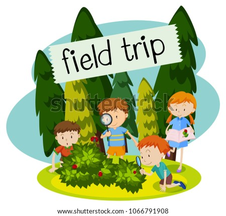 School Field Trip in the Nature illustration