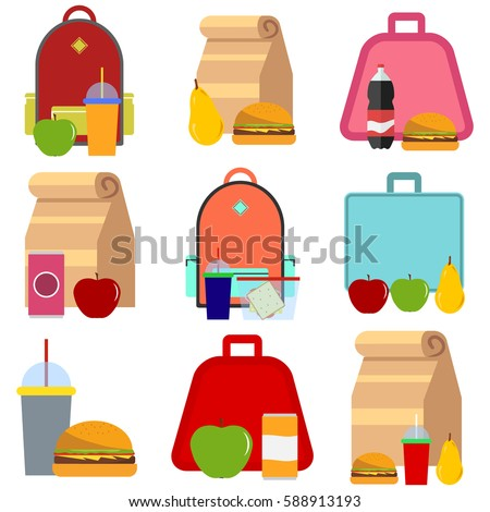 School food. School lunch food boxes and kids bags. Flat design, vector illustration, vector.