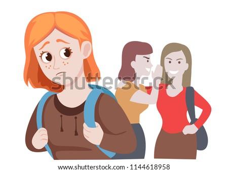 School friends Gossiping Behind Stressed ginger girl. Gossip, bad attitudes, cartoon vector illustration