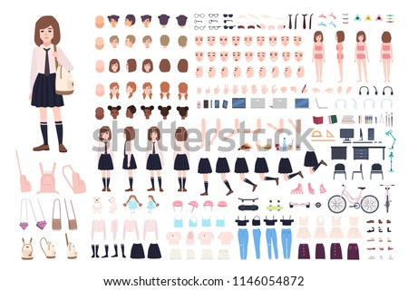 School girl constructor or DIY kit. Set of young female character body parts, facial expressions, uniform isolated on white background. Front, side and back views. Flat cartoon vector illustration