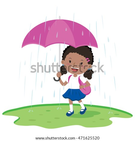 school girl holding umbrella in
