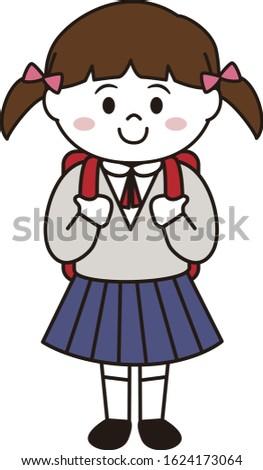 school girl smiling twin tail