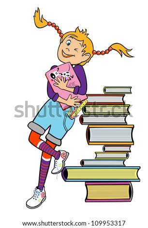 school girl standing by heap of books and holding book,vector picture,children illustration isolated on white background