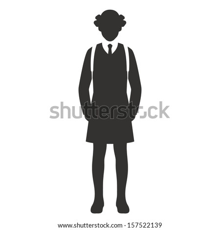 school girl with backpack black