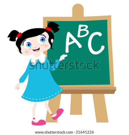 school girl with blackboard illustration