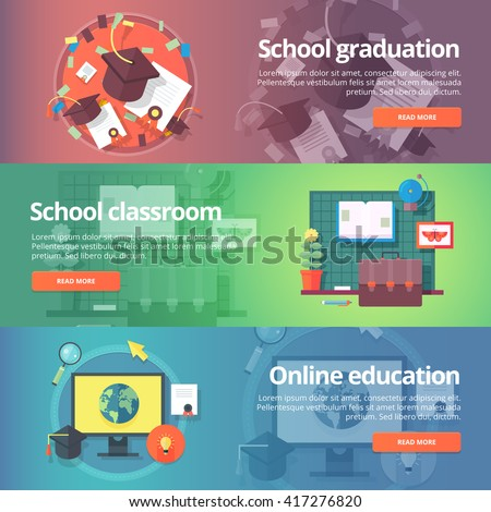 School graduation. Cap and gown. Online education. Education and science banners set. Vector design concept.