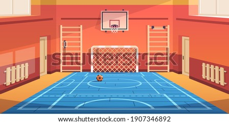 School gym. Gymnasium basketball court and campus soccer arena. Comfortable hall for kids active games and sport exercises. Empty equipped training room with gymnastic equipment. Vector illustration Stock photo ©