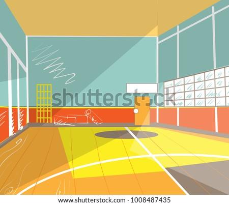 school gym, interior view. Cartoon style vector illustration Foto d'archivio ©