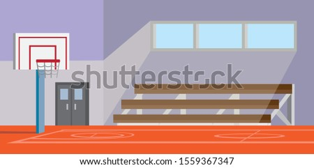 school gymnasium basketball court cartoon flat illustration vector Stock photo ©