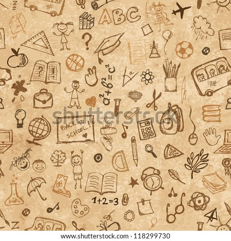school hand drawn pattern on